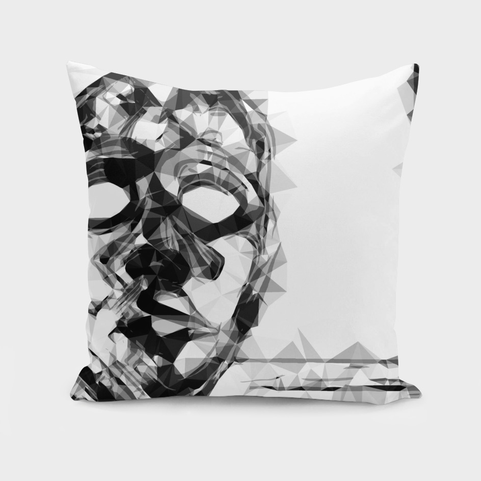 psychedelic geometric face portrait in black and white