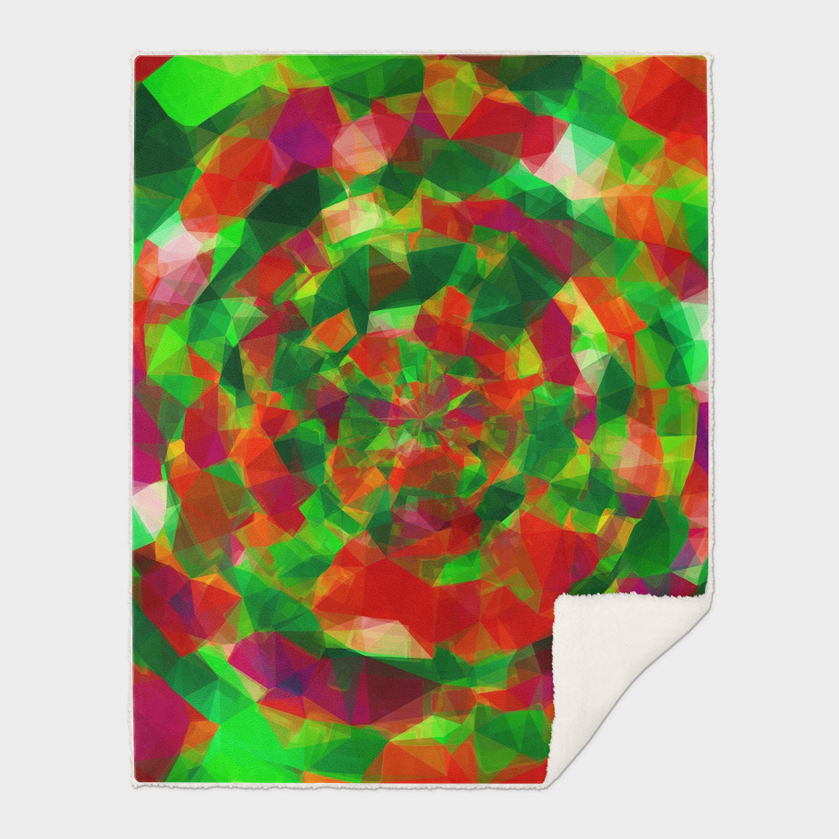 psychedelic geometric polygon pattern in red green pink