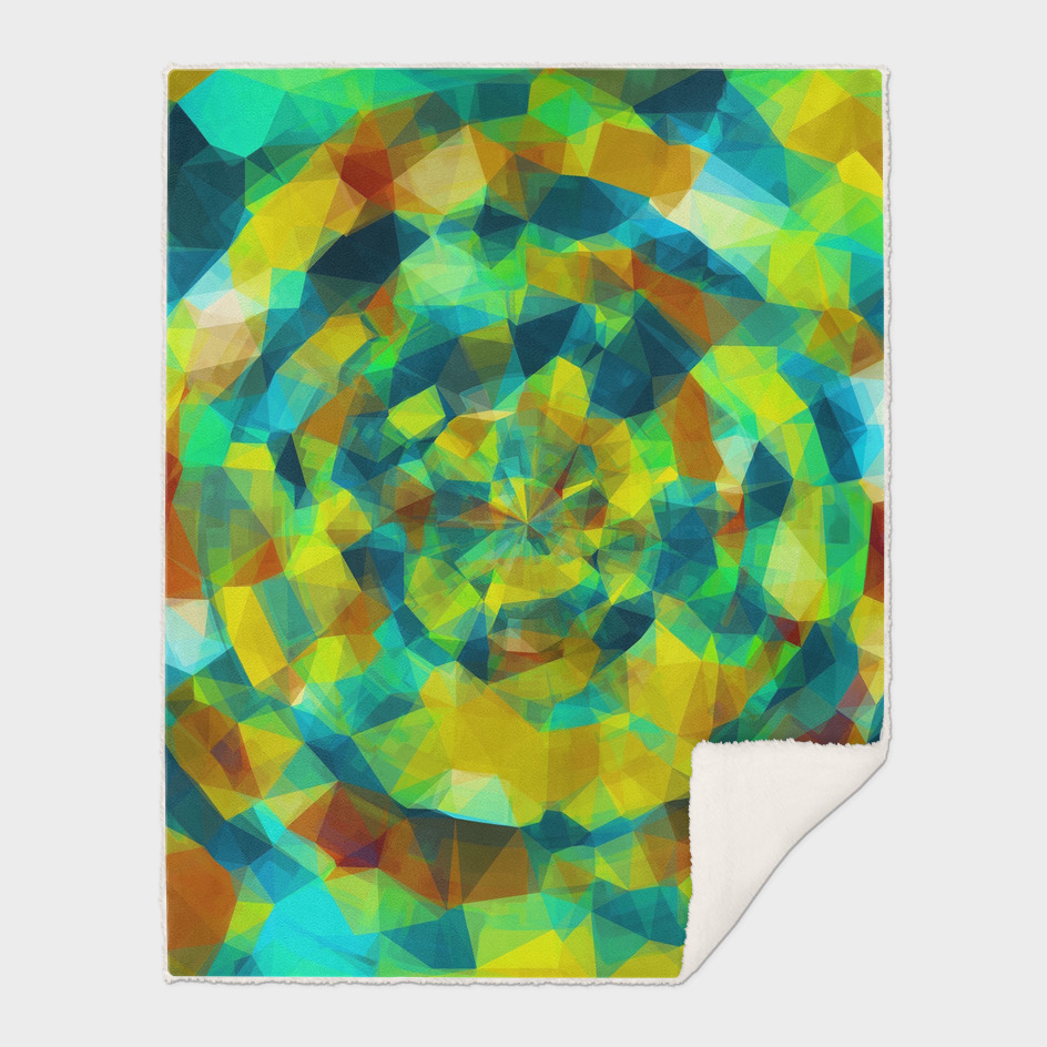 psychedelic geometric polygon abstract in blue yellow brown