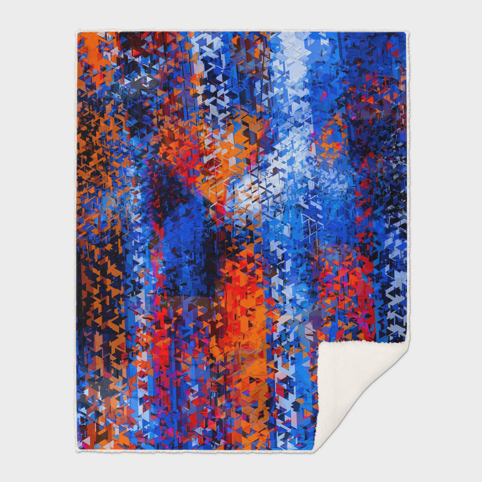 psychedelic geometric polygon pattern in blue red orange