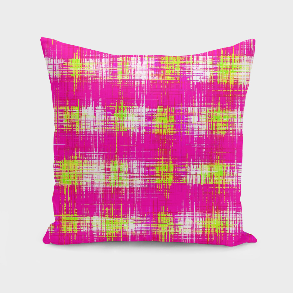plaid pattern graffiti painting abstract in pink and yellow