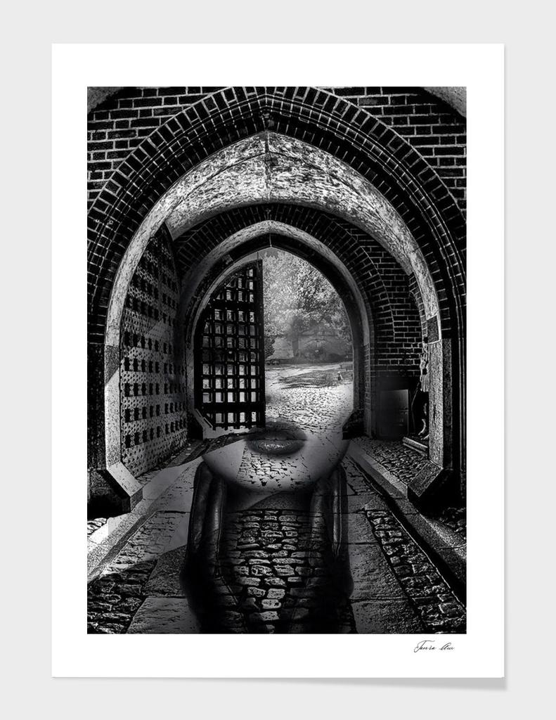 Arch girl. Double exposure portrait