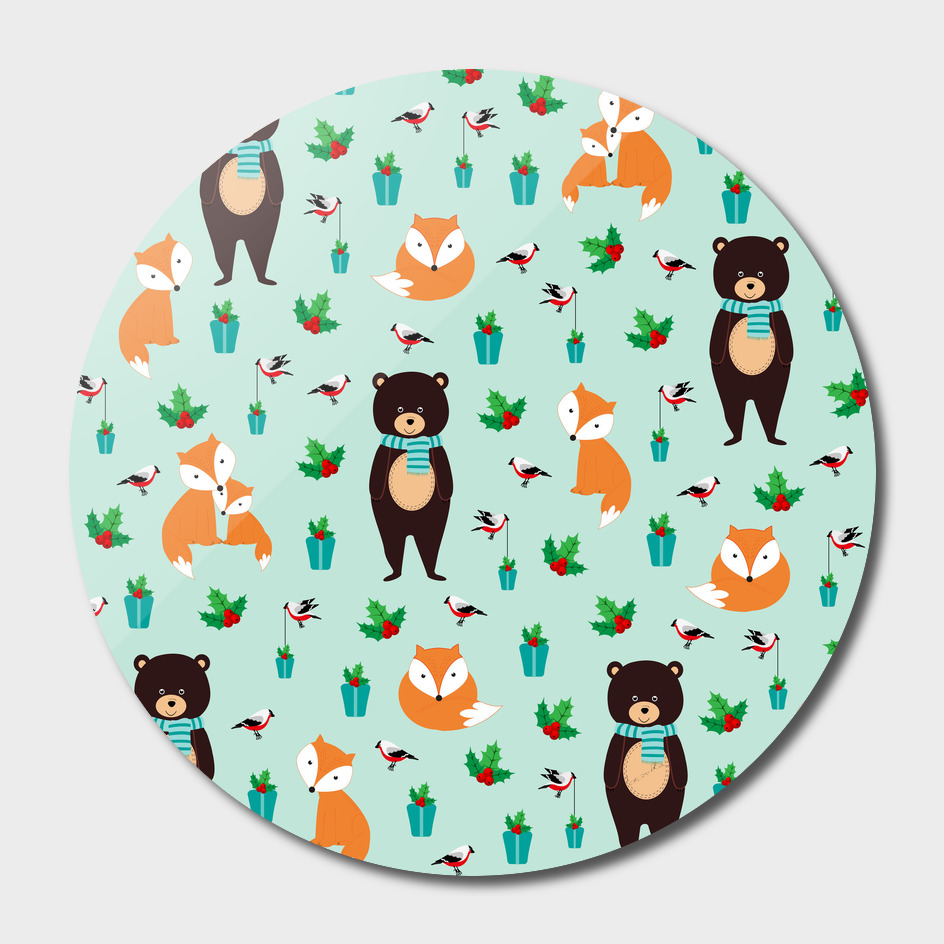 Christmas pattern with bears and foxes