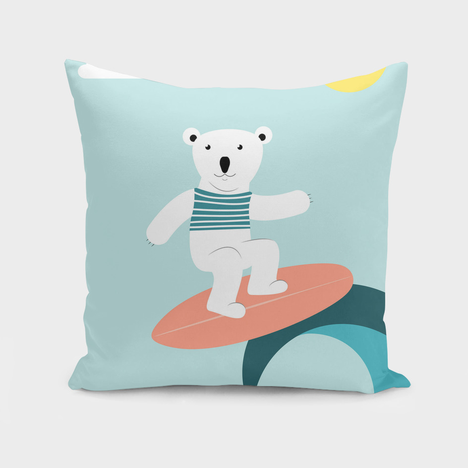 polar bear on the surfboard