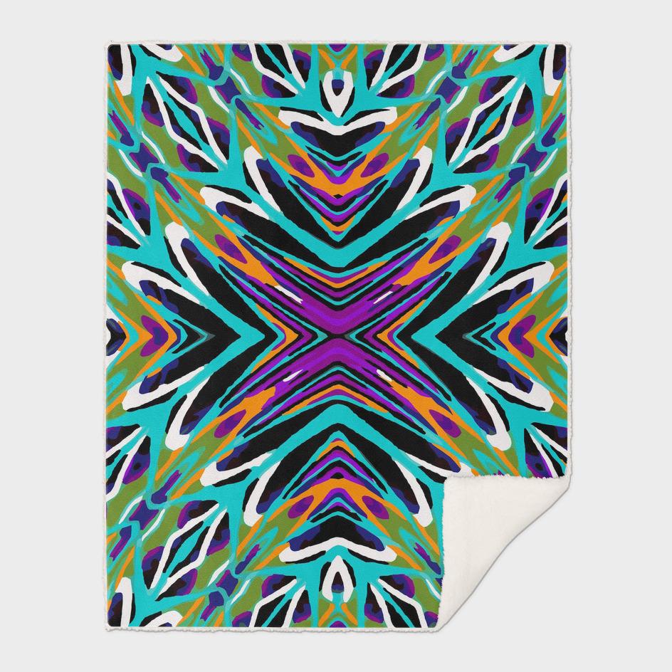 geometric graffiti abstract pattern in green blue purple