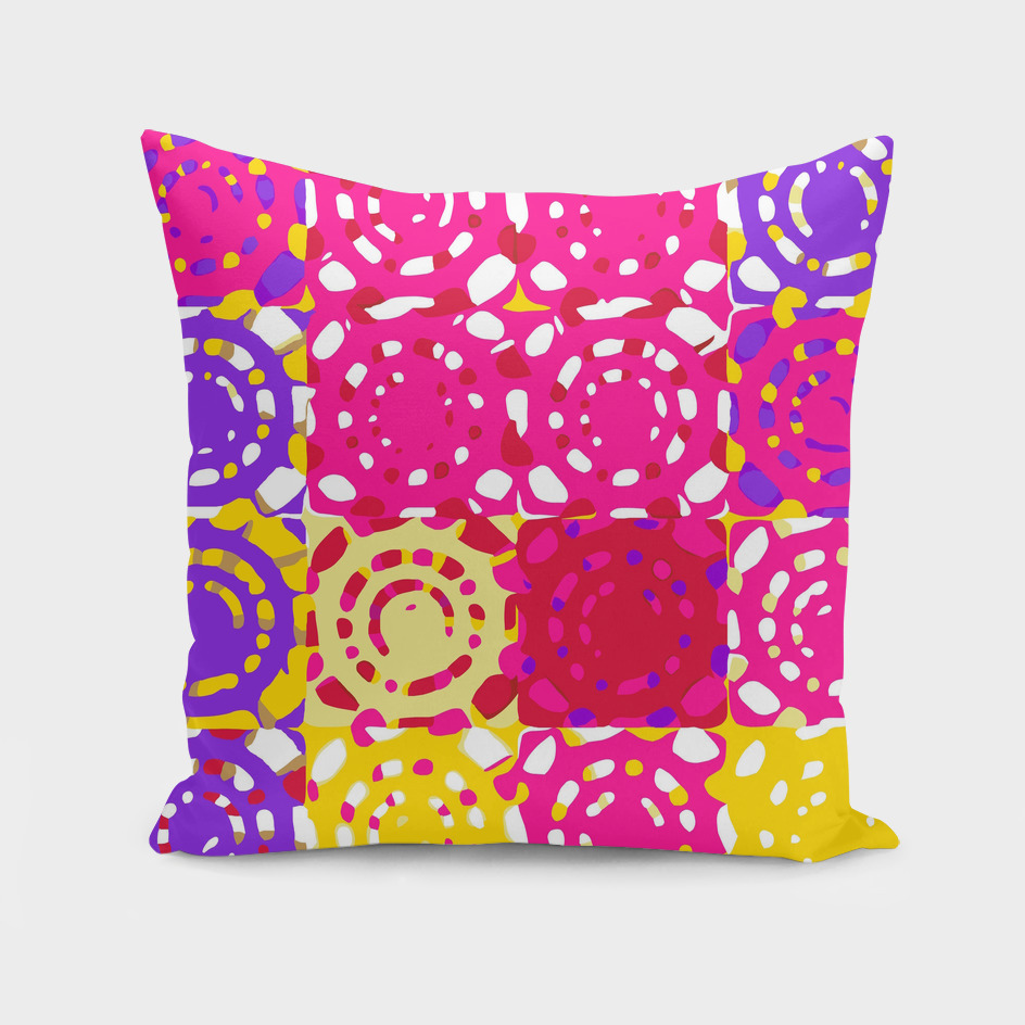 graffiti circle pattern abstract in pink yellow and purple