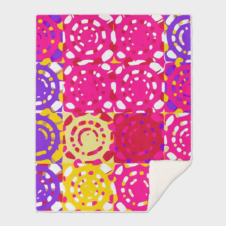 graffiti circle pattern abstract in pink yellow and purple