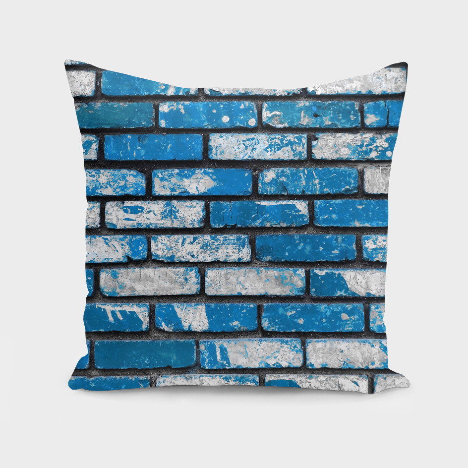 brick wall background in blue and white
