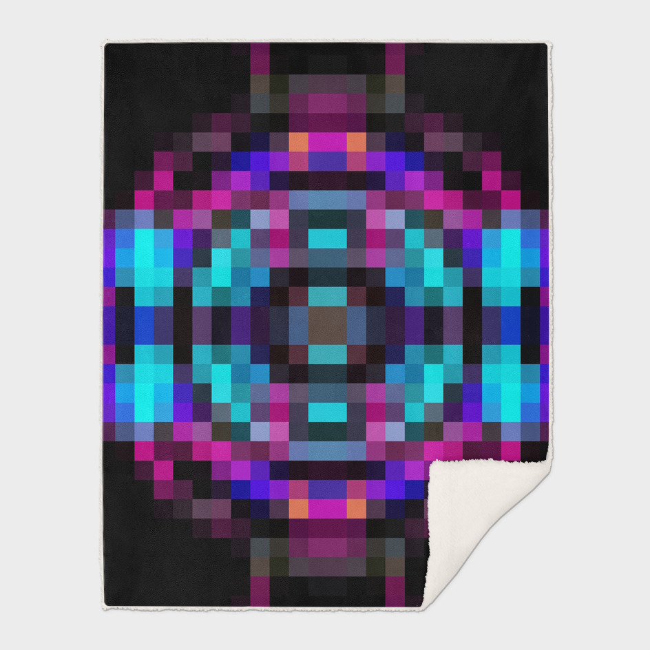 geometric square pixel abstract in orange blue pink