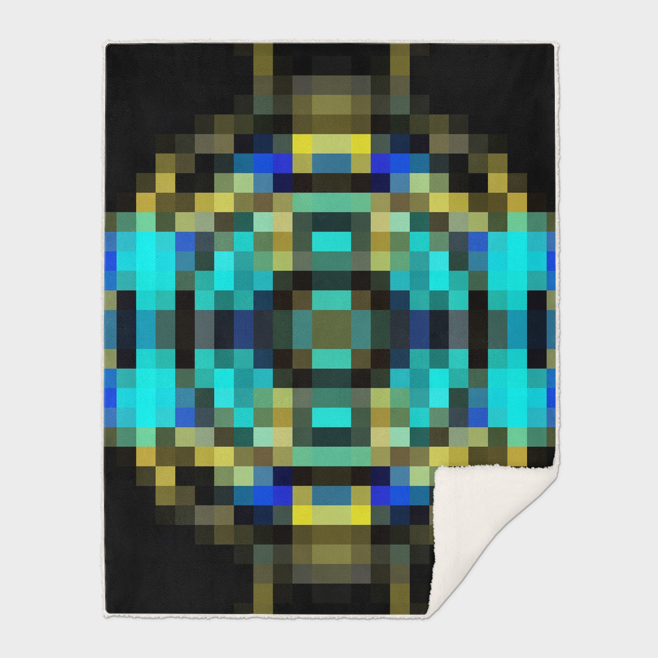 geometric square pixel abstract in blue and yellow