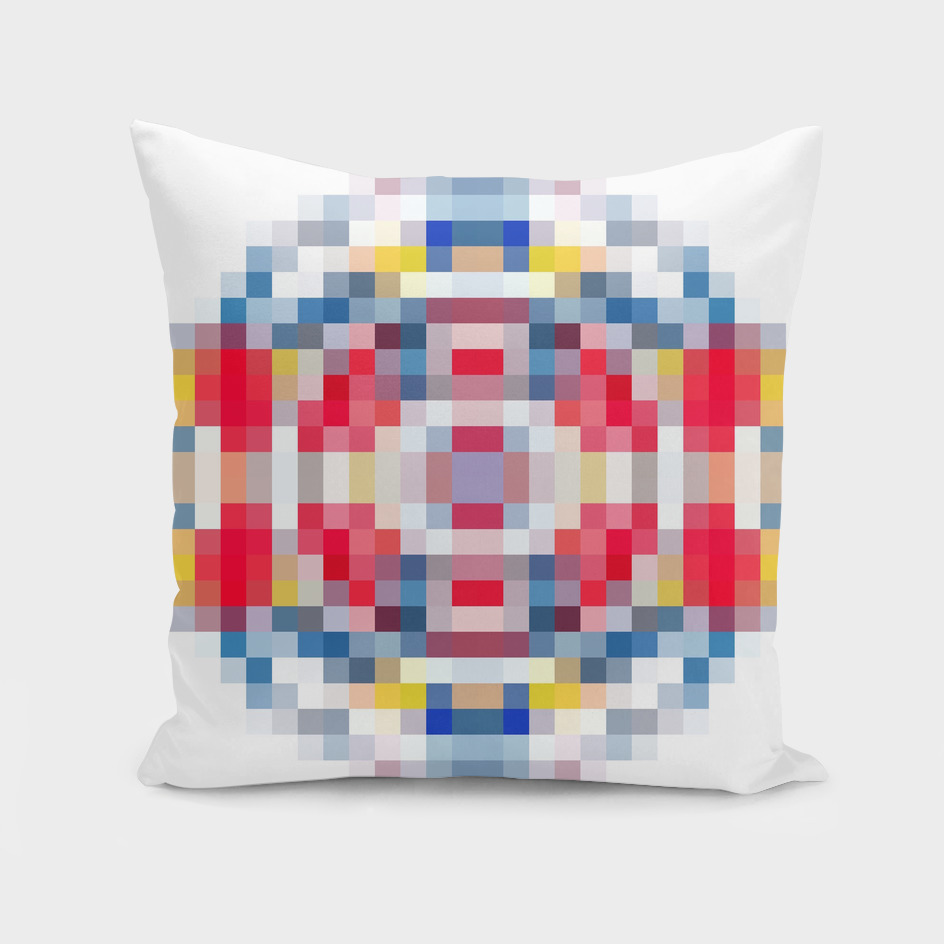 geometric square pattern pixel abstract in red blue yellow