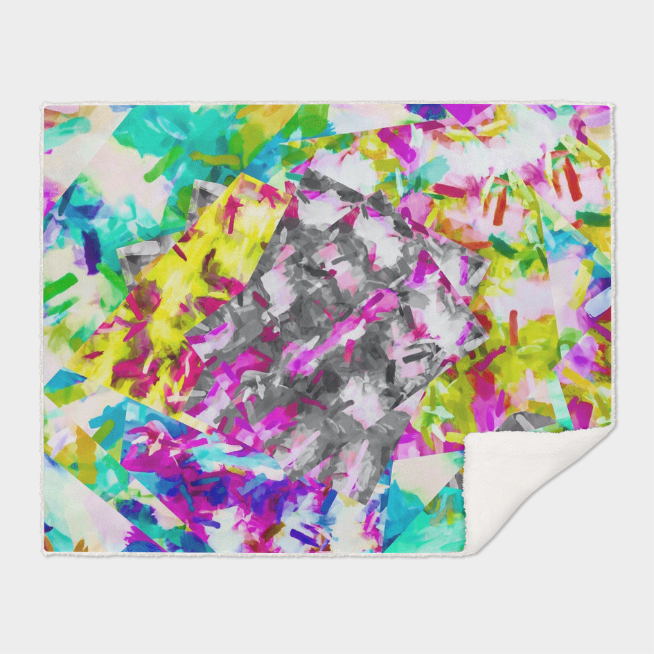 psychedelic splash painting abstract in pink blue yellow