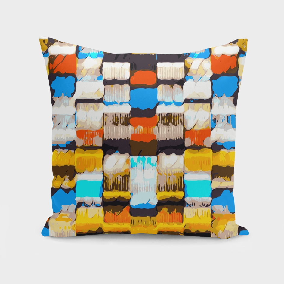 square pattern graffiti abstract in yellow brown blue orange