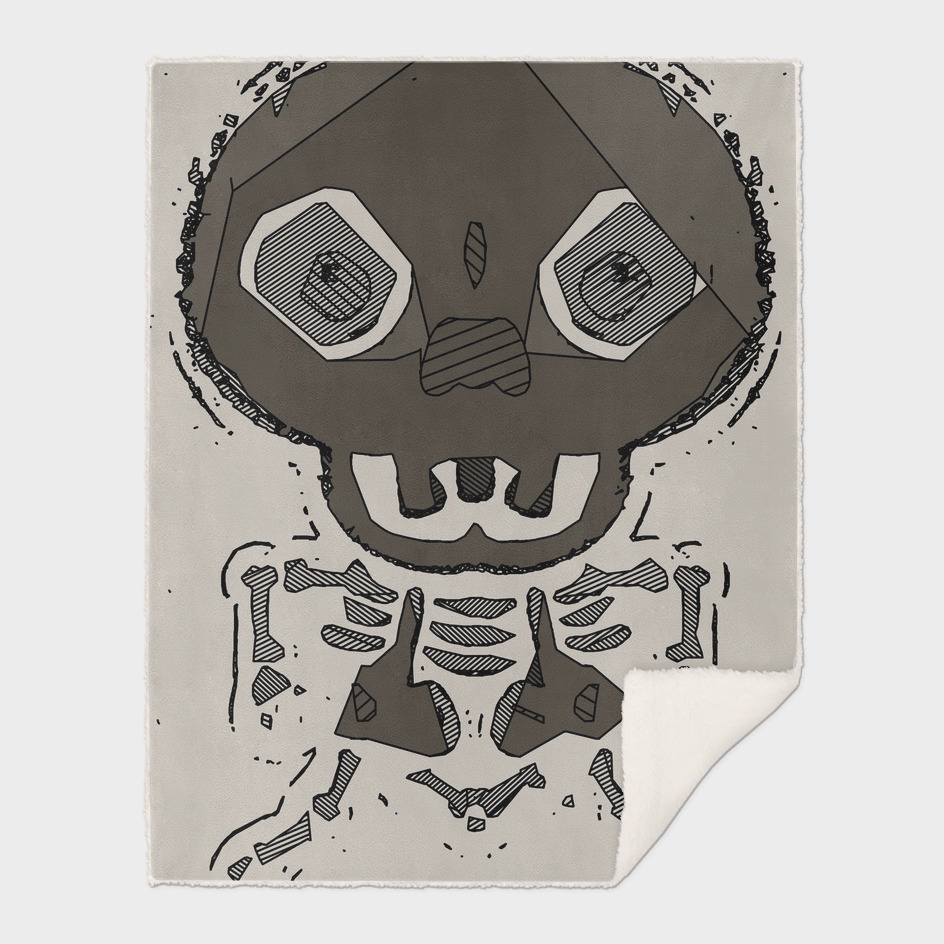 skull head and bone graffiti drawing with brown background