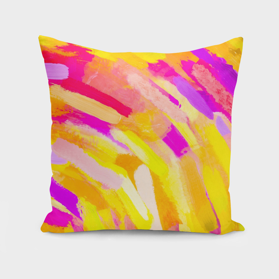 graffiti splash painting abstract in yellow pink purple