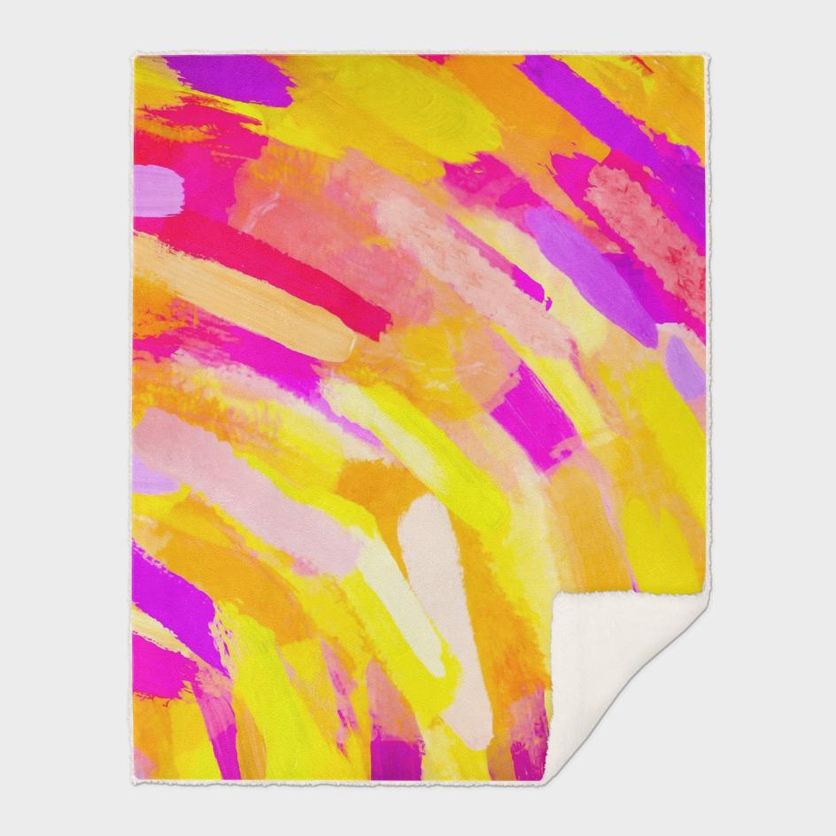 graffiti splash painting abstract in yellow pink purple