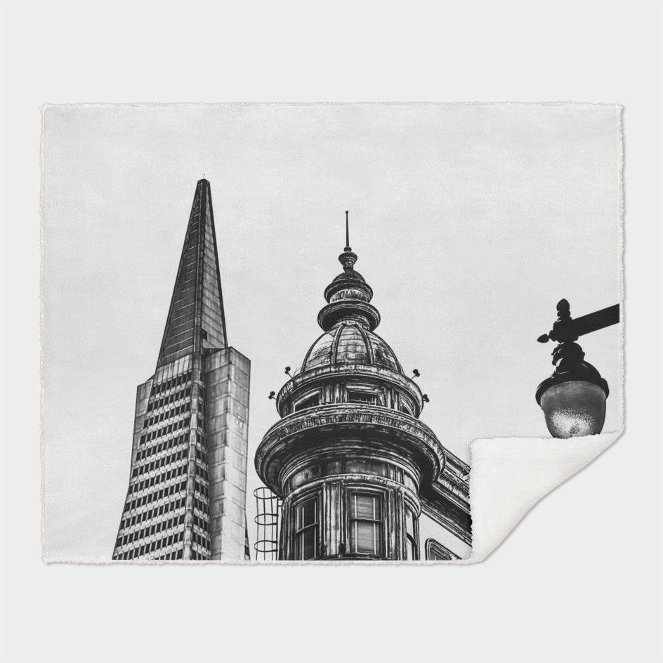 pyramid building and vintage building in black and white