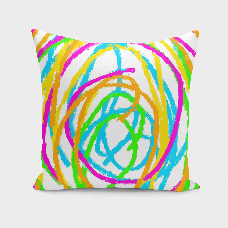 graffiti circle abstract in pink blue green orange yellow