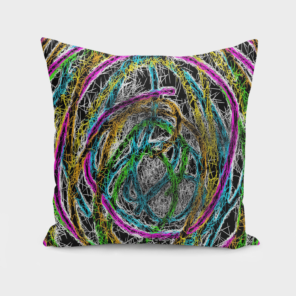 colorful psychedelic graffiti abstract with black background