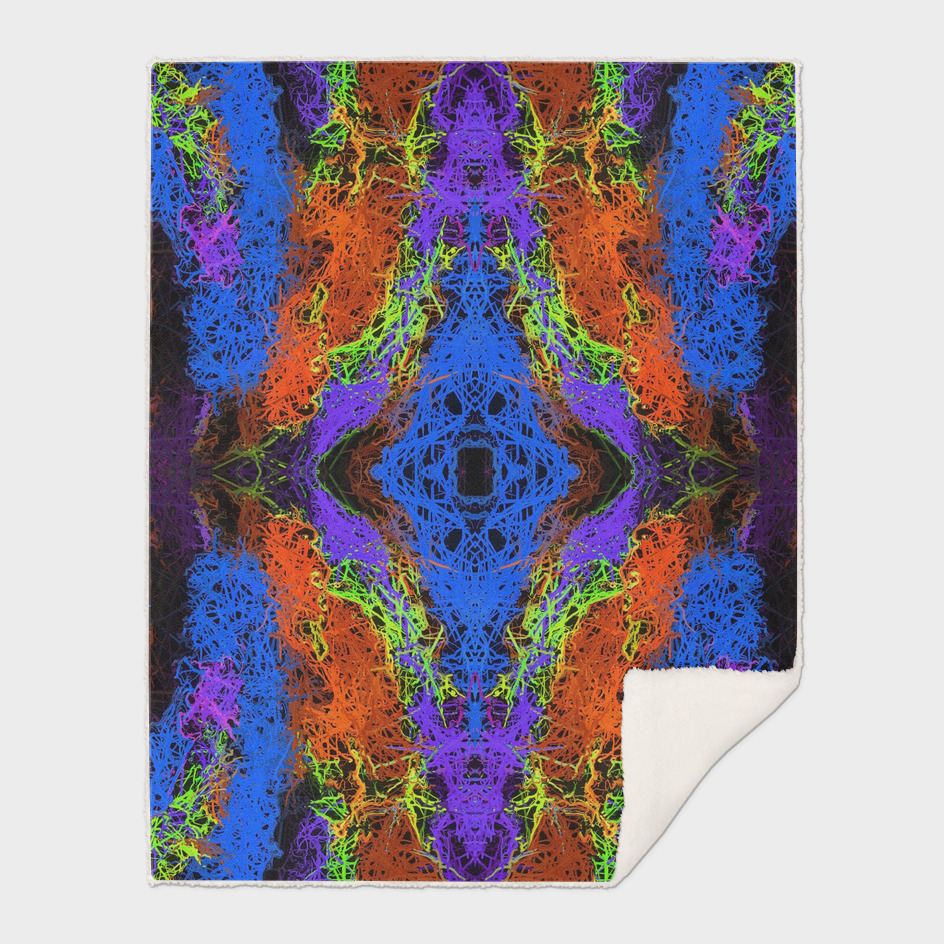 psychedelic graffiti geometric abstract in blue orange