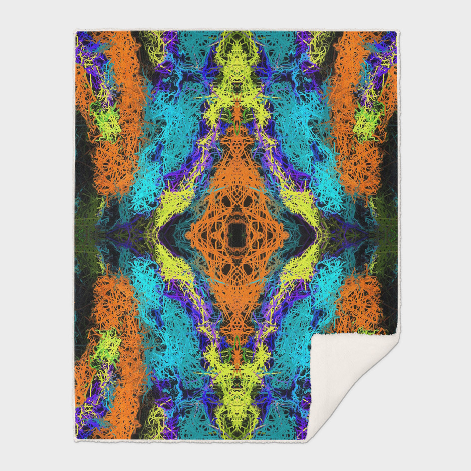 psychedelic graffiti drawing abstract in orange yellow blue
