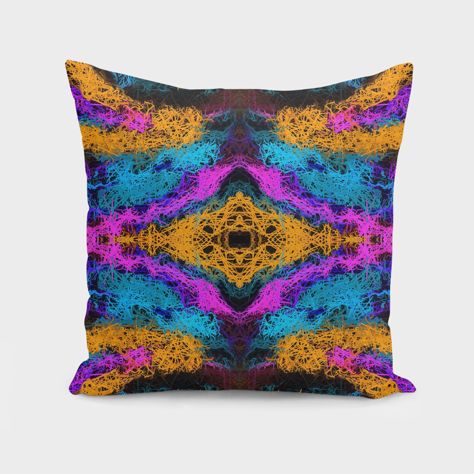 psychedelic graffiti geometric abstract in orange blue