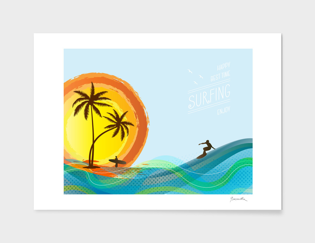 Surfer and waves
