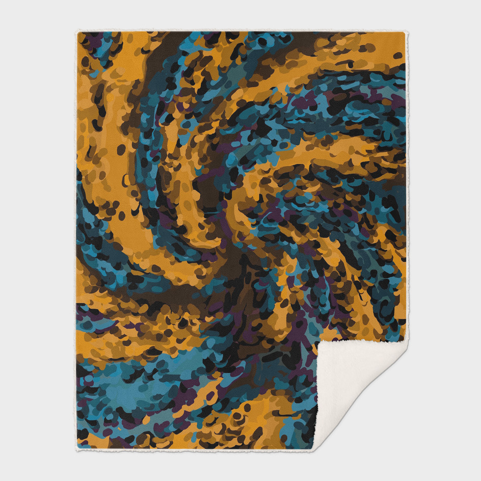 psychedelic graffiti painting abstract in brown and blue