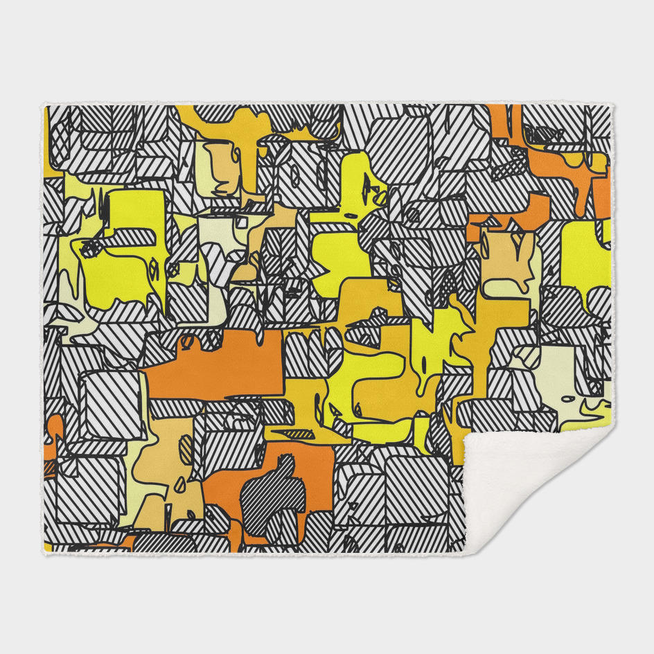 psychedelic geometric graffiti drawing in yellow and orange