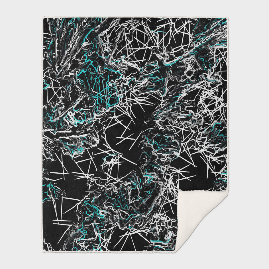 psychedelic geometric drawing abstract in blue and black