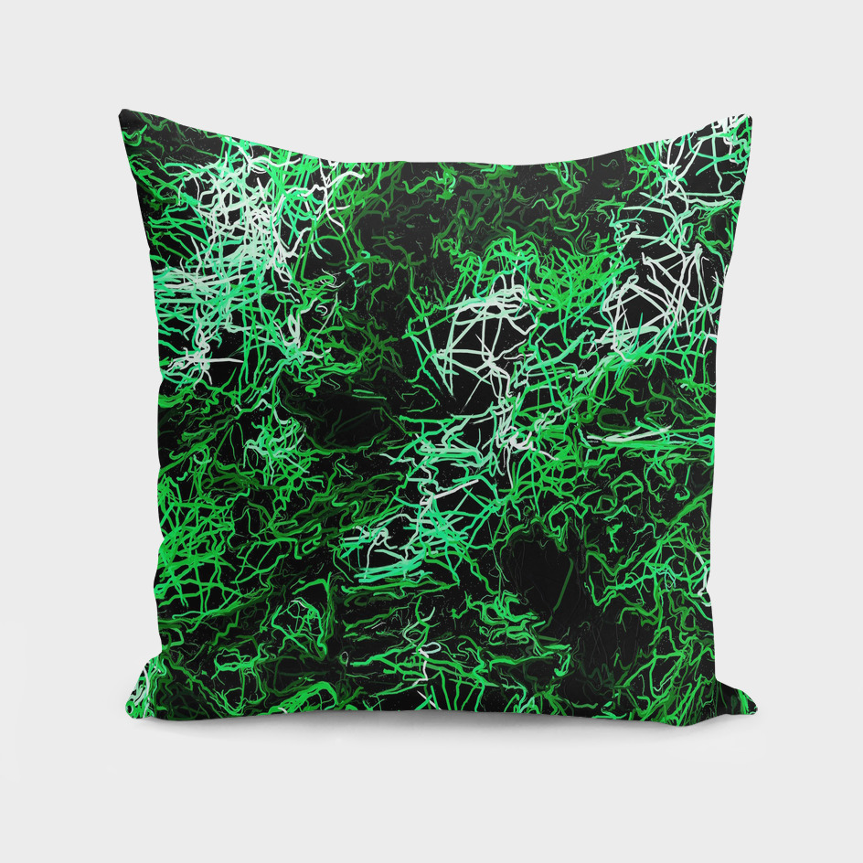 psychedelic geometric drawing abstract in green black white