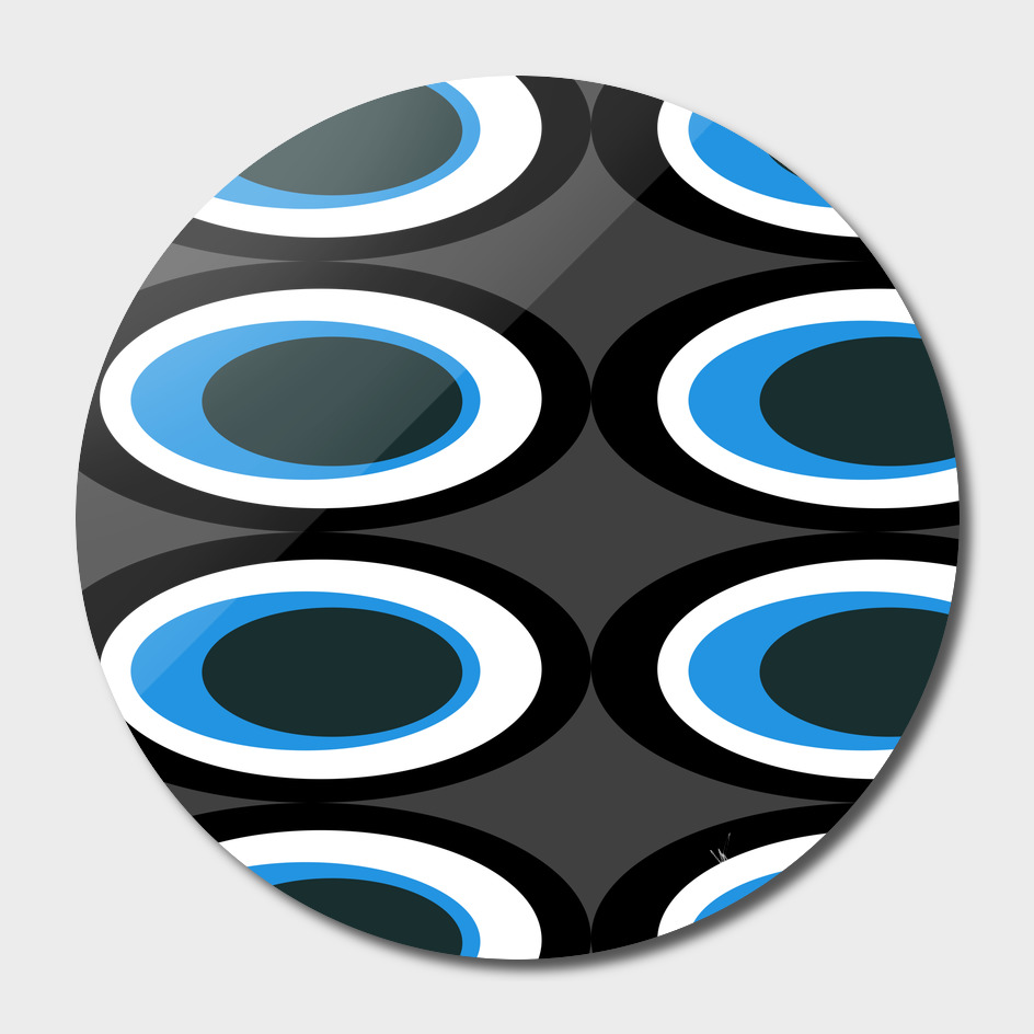 Retro Ovals - Midnight Blue