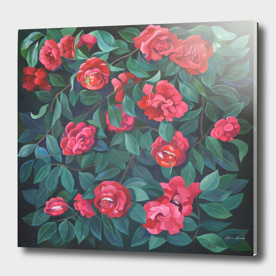 Camellias, lips and berries.