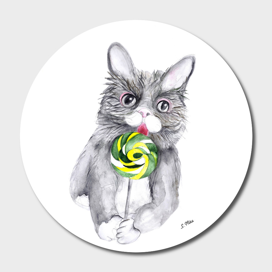 Cat With A Lollypop