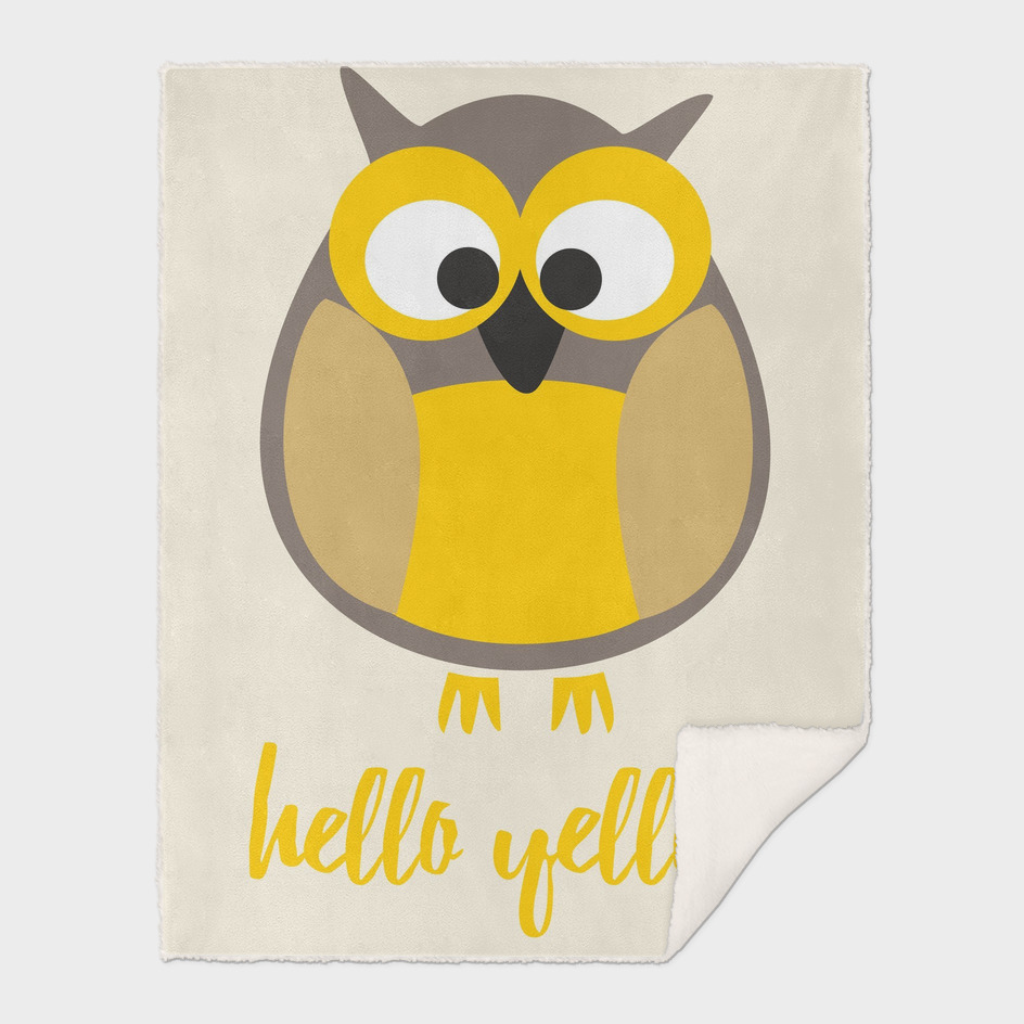 Hello yellow funny owl