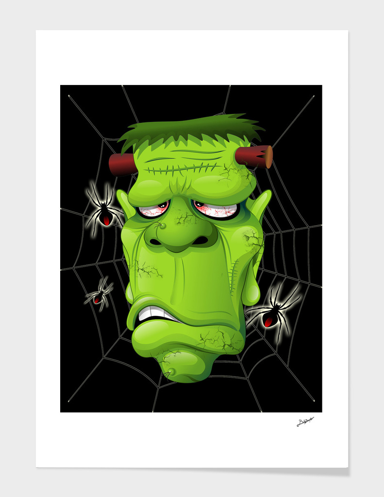 Frankenstein Ugly Portrait and Spiders