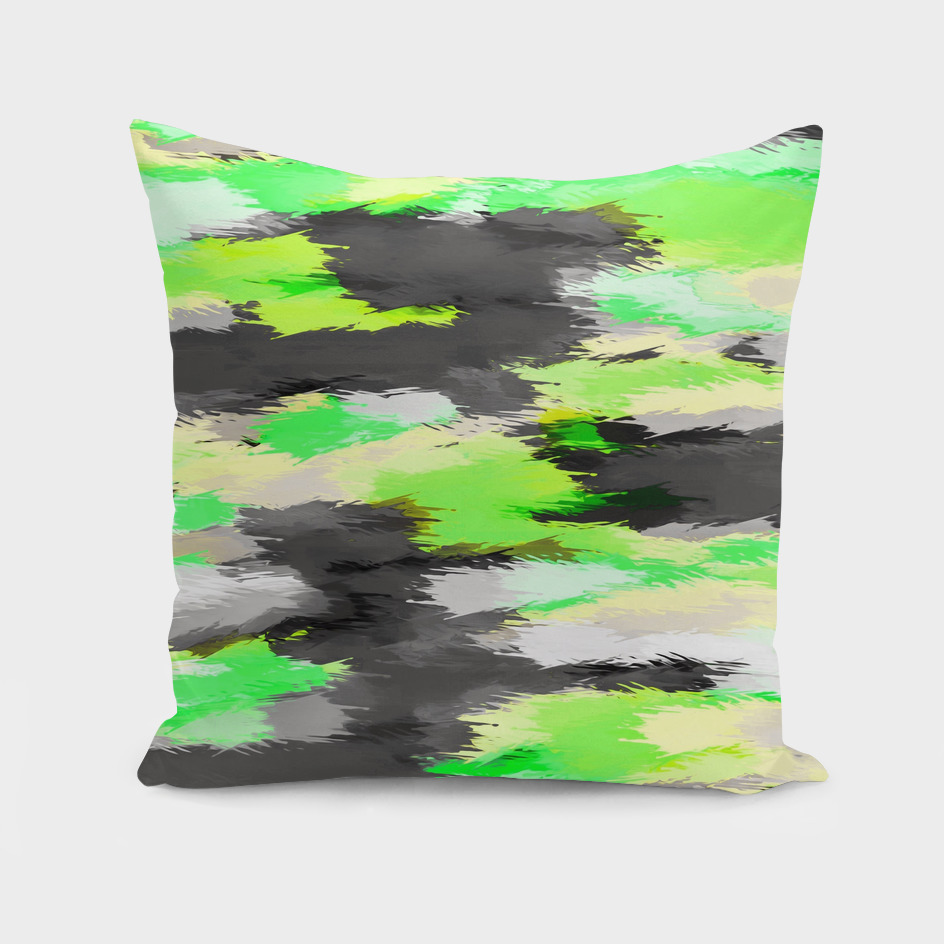watercolor camouflage painting in green yellow and black