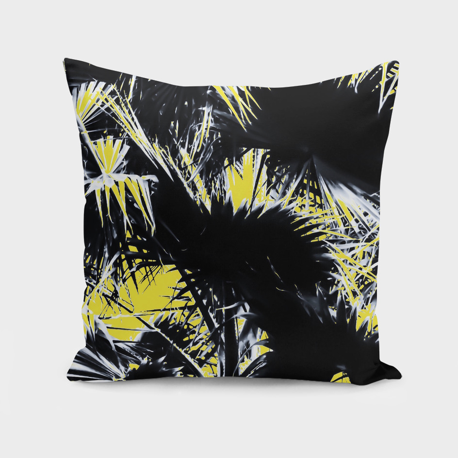 black and white palm leaves with yellow background