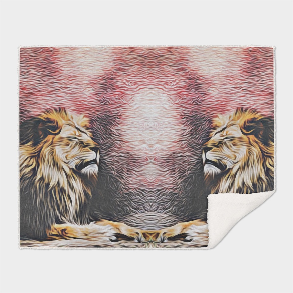 sleepy lions with red and brown background