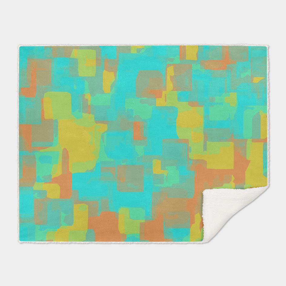 geometric graffiti square abstract in blue orange and yellow