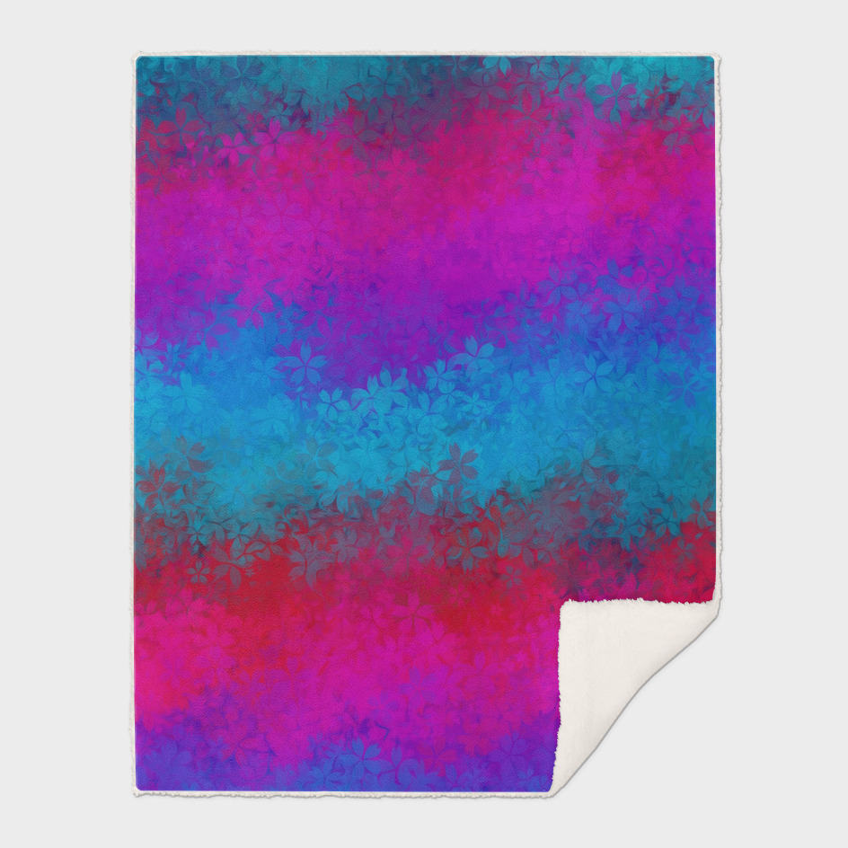 flower pattern abstract background in blue pink red