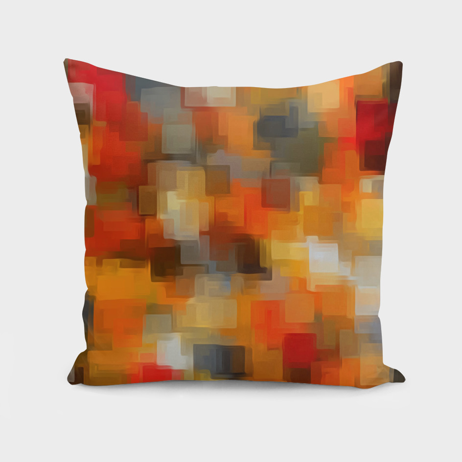 psychedelic geometric square pattern in orange and black