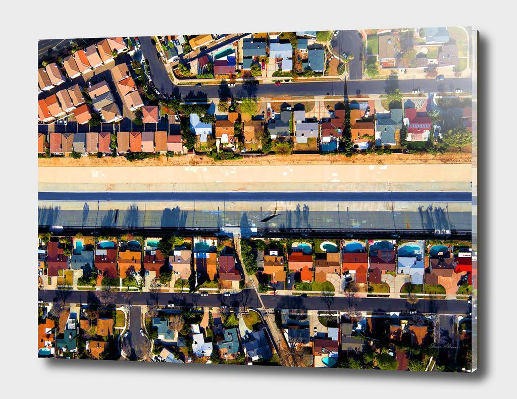 LA River Flowing Through Los Angeles Suburbs Towards Pacific