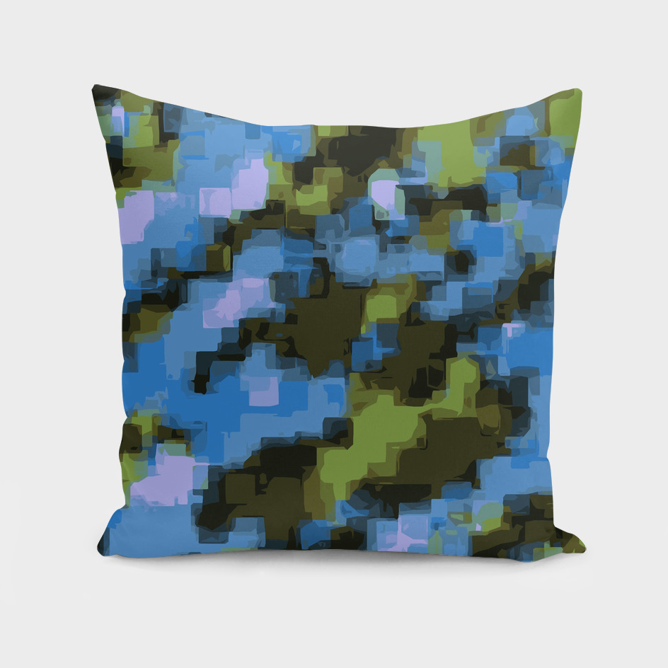 psychedelic camouflage geometric square pattern in green