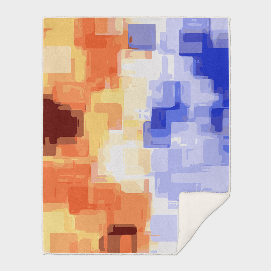 psychedelic geometric square pattern in blue and brown
