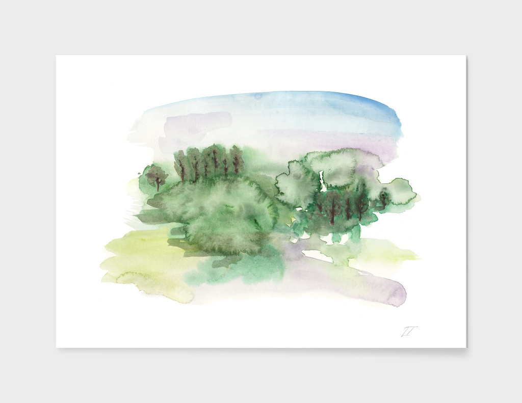 Abstract Watercolour Landscape Art Print