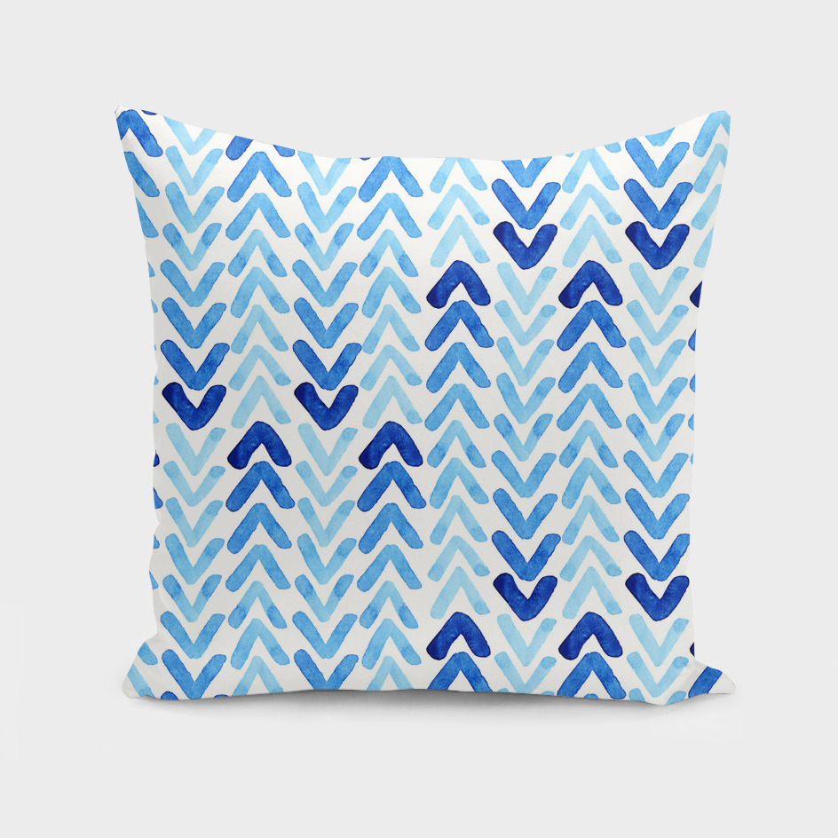 Blue Watercolour Abstract Arrow Pattern