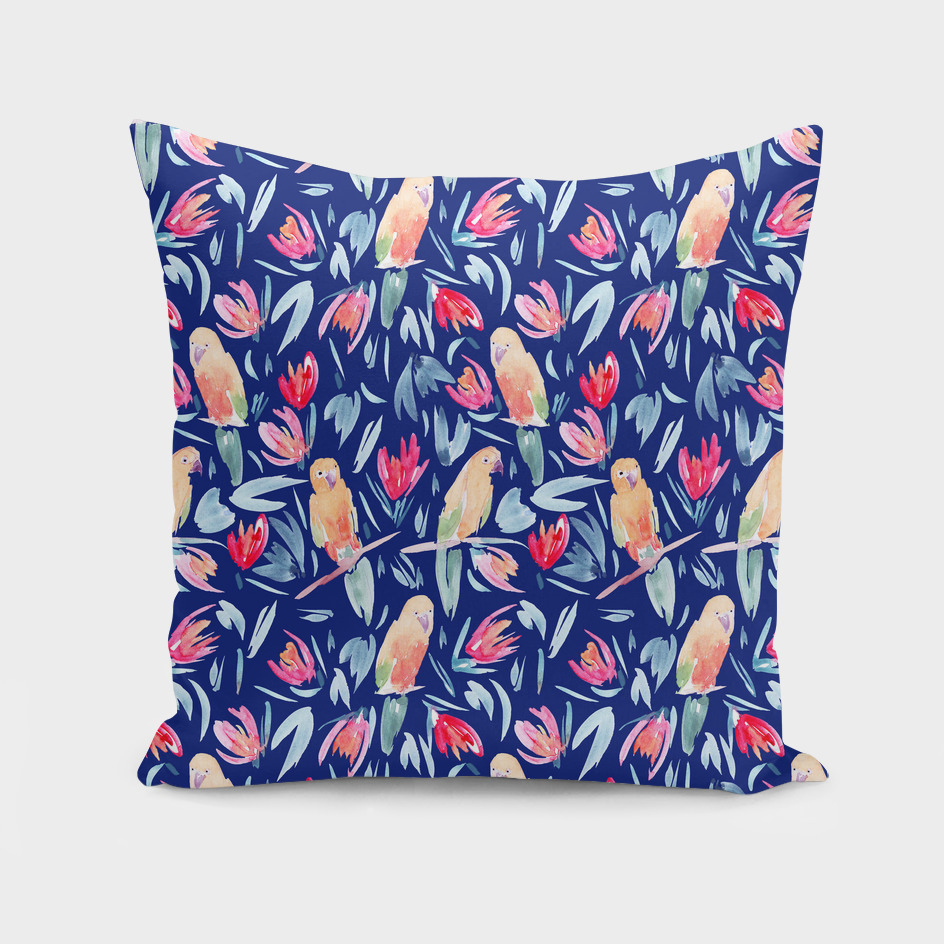 Tropical Birds Watercolour Pattern