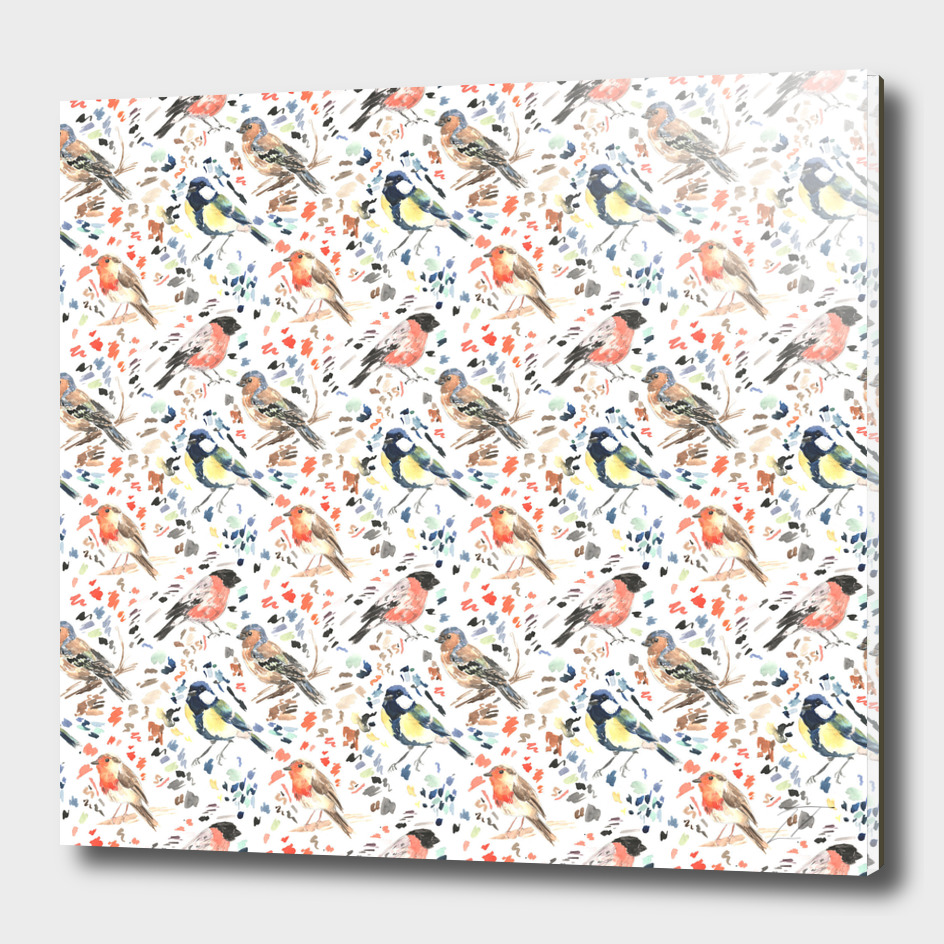 Watercolour British Bird Pattern