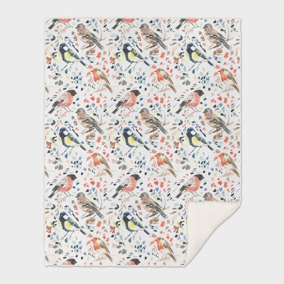 Watercolour British Bird Pattern